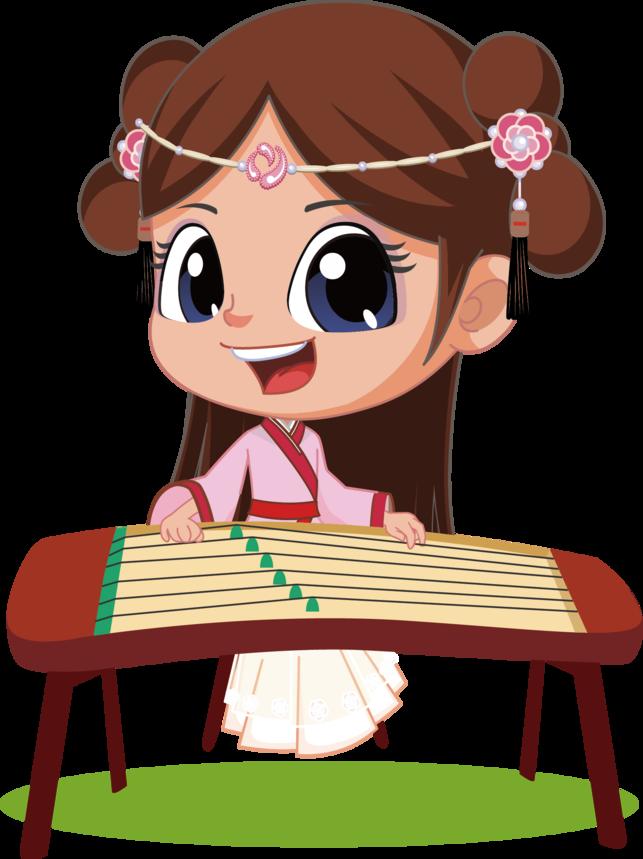 古筝女孩卡通头像